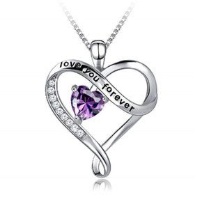 Silver Love You Forever Heart Pendant Necklace